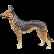SOLD Antique Vienna Bronze figure of a German shepherd dog, signed by Bergmann