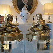 Pair of French Gilt Bronze fireplace chenets, dated at about 1870