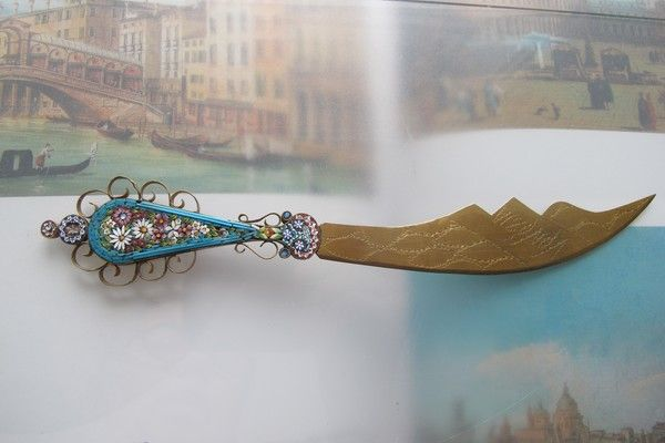 Antique Micro Mosaic letter opener, Italy 19th century