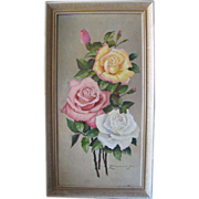 """""""Three roses"""" oil on canvas by Joseph Zimmerl, early 20th century"""