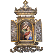 SOLD Antique French gilt and silver plated metal Tryptich with a miniature porcelain plaque, e