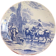 Lovely blue and white plate by Delfts Boch Frères La Louvière Belgium