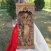SOLD Fine carved lime wood sculpture of the Madonna of the crescent moon, 19th century