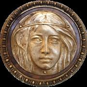 SOLD Art Nouveau Bronze  high relief plaque depicting a young woman, ca. 1900