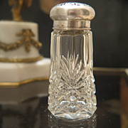 Crystal glass sugar shaker with silver lid, late 19th century
