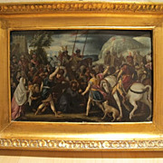 Antique Painting Depicting Saint Veronica Encountering Christ,Italy 16th century