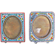 Pair of Micro Mosaic frames depicting colourful flowers on a turquoise ground