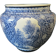 Royal Bonn blue and white flower pot,signed Franz Anton Mehlem, ca.1900