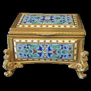 Antique enamel jewelry casket in cloissone technique, 19th century