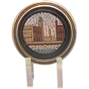 Roman Micro Mosaic silver button depicting St. Mark´s square, signed J.W.