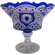 SOLD Antique Bohemian Cobalt blue lead crystal glass centerpiece, ca.1900