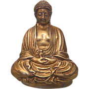 Antique Gilt Bronze Sitting Buddha Figure , ca. 1900