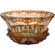 Antique Bohemian Amber lead crystal glass centerpiece, ca.1900