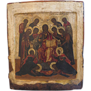 SOLD Magnificent antique Russian Icon of the extended Deisis, ca.1800 - Red Tag Sale Item