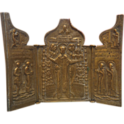 Russian Triptych Icon depicting St. Nicholas of Mozhaisk, end of 18th century