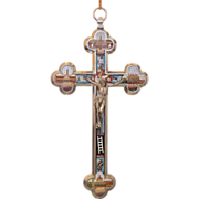 Roman Micro Mosaic crucifix of the Grand Tour Era, 19th century