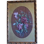 Floral painting tempera on silk,signed and dated ca. 1920