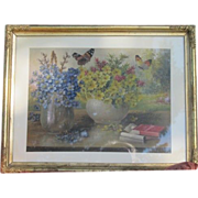 Painting oil on canvas depicting flowers and butterflies, early 20th century