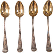 Imperial Russian silver spoons with gilded bowl, Russian hallmark and maker´a mark, dated 190