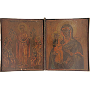 SOLD Russian travel Icon depicting the Holy Virgin holding the Christ Child,turn of the 19th c