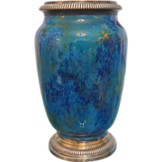 Sevres silver mounted Art Deco vase, signed Paul Milet ,ca.1920