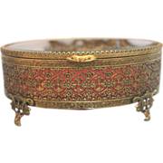 Antique French Gilt Bronze jewelry casket with beveled glass, 19th century