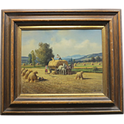 "Painting ""The Harvest"" , oil on canvas,signed, 1st half 20th century"