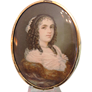 Antique portrait miniature of a young woman, 19th century