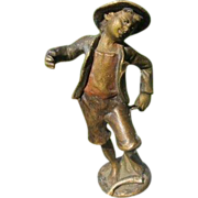 Vienna Bronze figure modelled and cast as a fisher boy, dated at the early 20th century