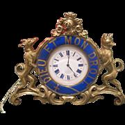 Antique Gilt Bronze table clock adorned with blue enamel signed Jean Morel, first half 19th ..
