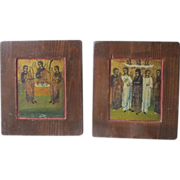 Pair of antique Russian Icons depicting Saints, 19th century