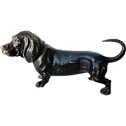Antique Vienna Bronze figure o a black dog, signed and dated at the beginning of the 20th cent