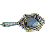 Micro Mosaic hand mirror depicting flowers, Italy 19th century