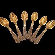 Six Russian enamel gilt silver spoons, 1st half 20th century