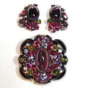 REDUCED Schreiner Brooch & Earrings, Domed, Gun Metal, Purple, Fuchsia, Green