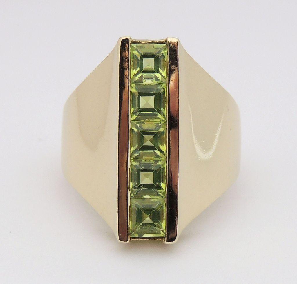 large 14k princess cut peridot ring channel set 14kt