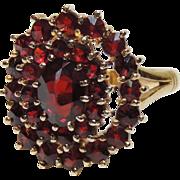 REDUCED 14k Bohemian Garnet Ring. Yellow Gold, sz 5+, Cluster, Cocktail