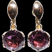 REDUCED Retro 14k Created Alexandrite Drop Earrings, Screw Back, 14kt Yellow Gold, Purple, ...
