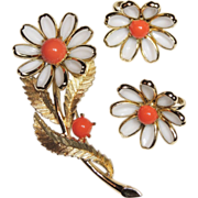 REDUCED Signed Crown Trifari Daisy Flower Brooch, Pin & Earrings, White Poured Glass, Faux