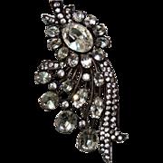 REDUCED Eisenberg Original Sterling Silver Fur Clip, Brooch, Large, Rhinestones