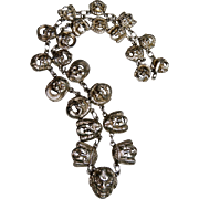 REDUCED Italian 800 Silver Necklace, Gothic Faces, Mascaron, Gargoyle, Devil, Peruzzi, Italy