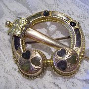 Victorian Connemara & 9 Karat Rose Gold Cloak Brooch Dublin, Ireland