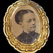Victorian Memorial Portrait Gold-Filled Brooch