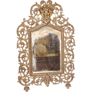 Victorian Cast Frame or Wall Mirror w/ Face of Bacchus