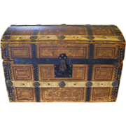 Early Domed Doll Trunk w/ Lift-Out Tray
