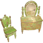 Kilgore Cast Iron Dresser & Chair Set Doll House Furniture