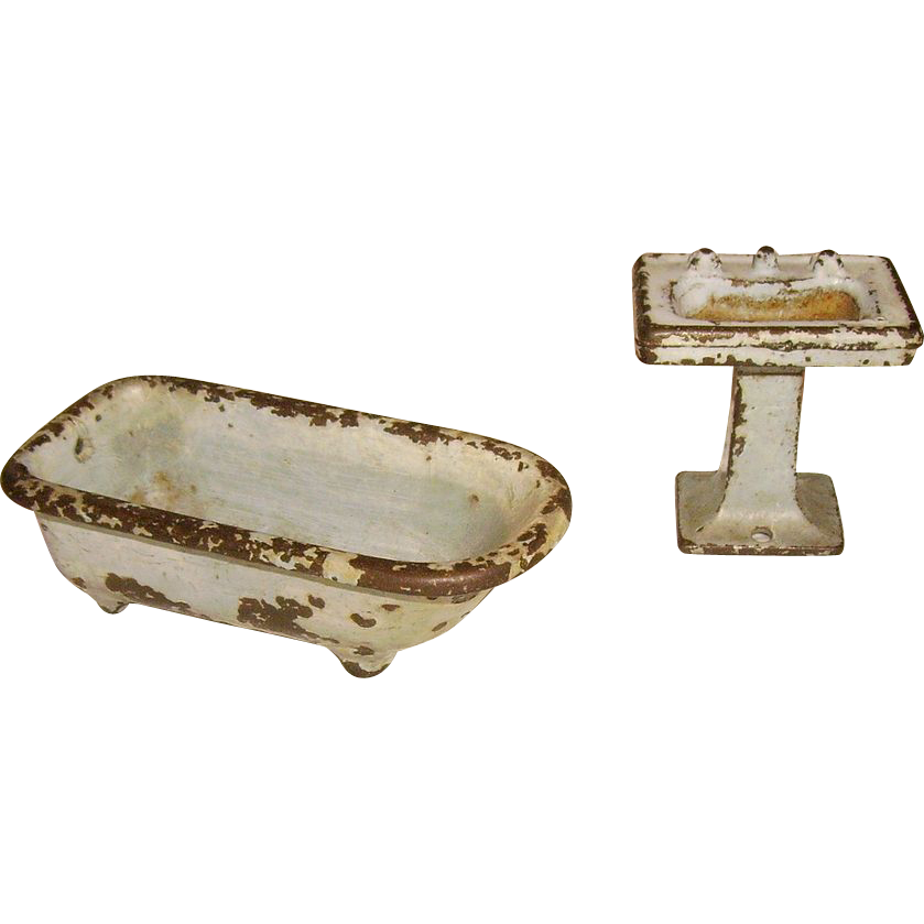 Kilgore Cast Iron Footed Bath Tub Pedestal Sink Set Doll House from ...