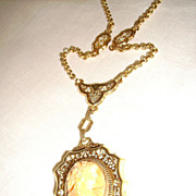 Victorian Coral Cameo & Gold Filled Necklace w/ Enamel
