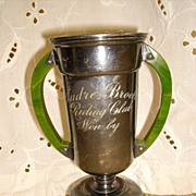 SOLD Vintage Silver Plate Riding Club Trophy w/ Marbled Bakelite