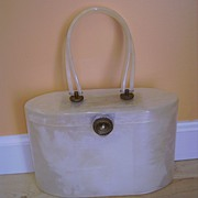 Vintage Signed WILARDY Lucite Hand Bag Marbleized Pearl 50s